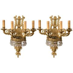 Beautiful Pair of Gilt Bronze and Crystal Drops Six-Light Sconces