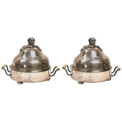 Pair of Antique Sheffield Domed Food Warmers