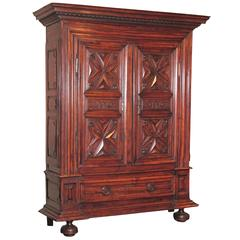 17th Century French Louis XIII Carved Walnut Armoire with Side Doors and Drawer