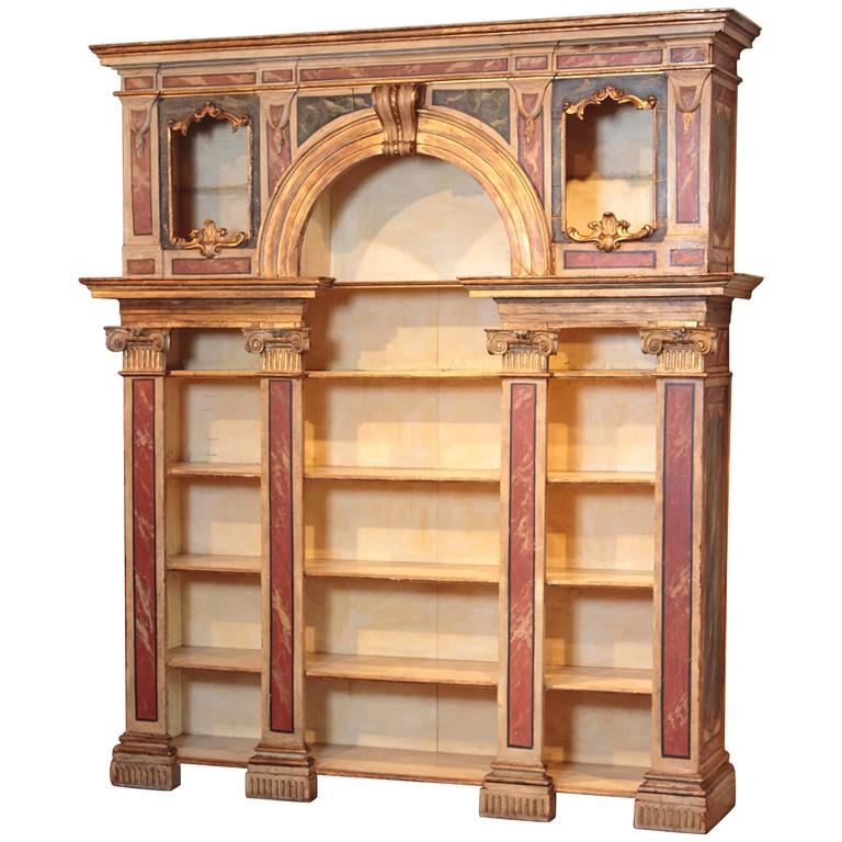 Early 19th Century Italian Neoclassical Bookcase with Faux Marble Painted Finish
