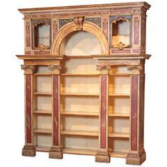 Anfang des 19. Jahrhunderts italienisches neoklassisches Bücherregal mit Falschem Marmor lackiert