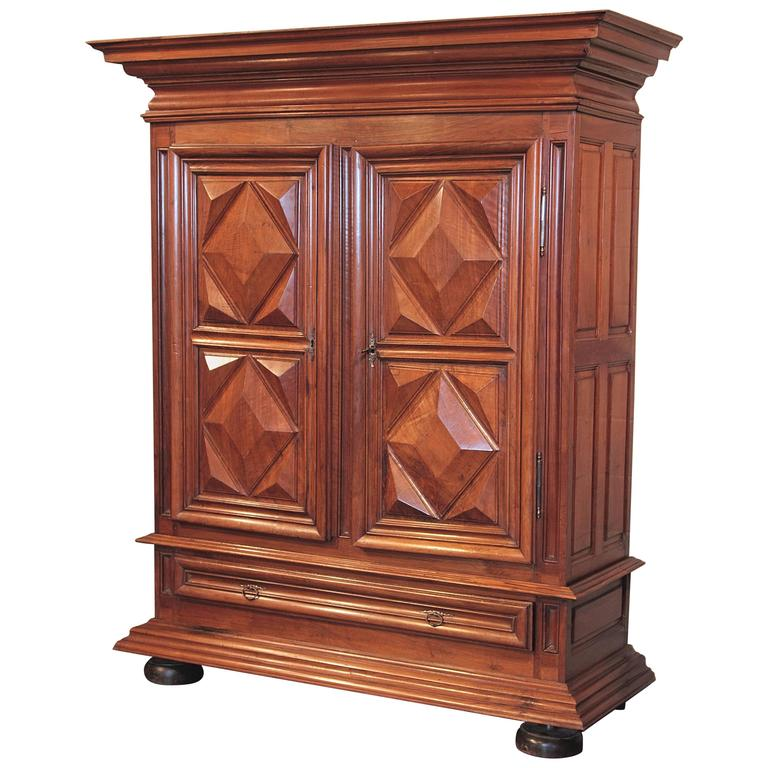early 19th century french louis xiii walnut diamond shape armoire with drawer for sale at 1stdibs. Black Bedroom Furniture Sets. Home Design Ideas