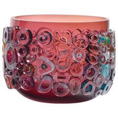 Ruby Blown Glass Bowl, Glass Centerpiece by Sabine Lintzen