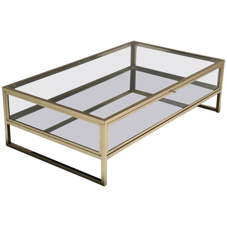 Brass Display Coffee Table: Mid-Century Brass Curio Coffee Table At 1stdibs