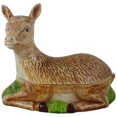 Large French Faience Figural Deer Venison Pâté Terrine, Michel Caugant