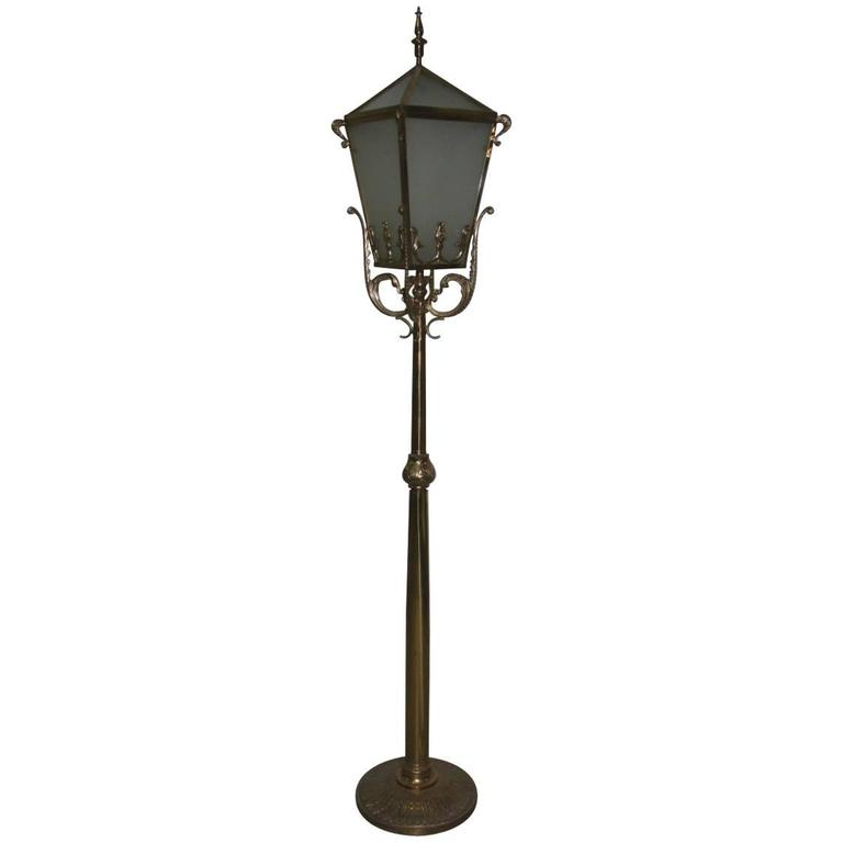 Big Floor Lamp Lantern Mid Century Italian Design Brass Sculpture For Sale
