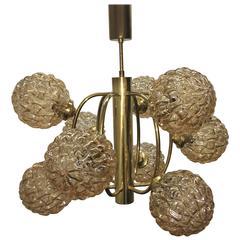 Brass and Glass Nine Ball Sputnik Chandelier