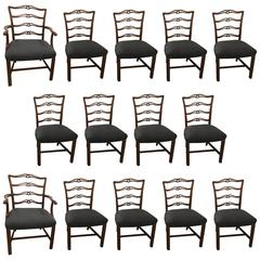 Set of 14, 1930s Mahogany Georgian Style Ladder Back Dining Chairs