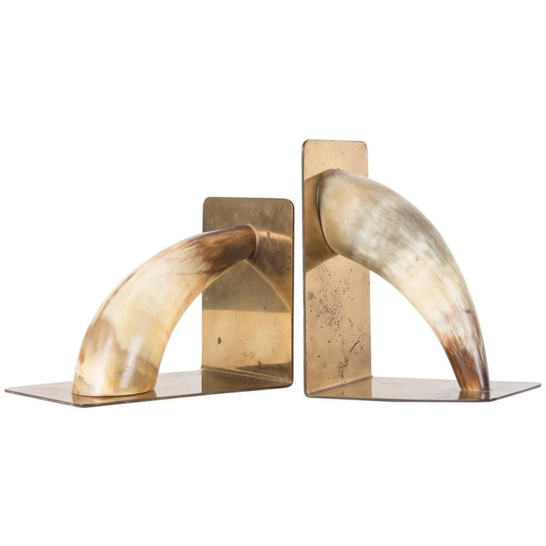 Marked Mid-Century Carl Auböck Horn Bookends, Vienna, 1950s