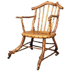 Exceptional 19th Century English Arts & Crafts Yew Wood Armchair