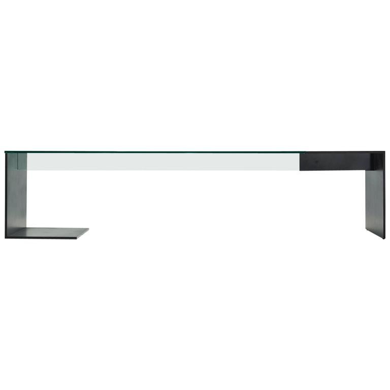 Limited Edition Minimal Unir Glass and Hand-Painted Black Steel Table or Desk