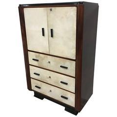 1930s Art Deco Parchment Secretaire