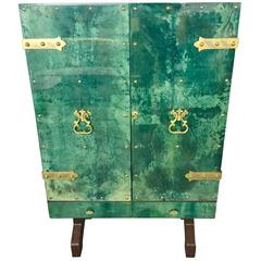 Malachite Green Aldo Tura Illuminated Goatskin Bar