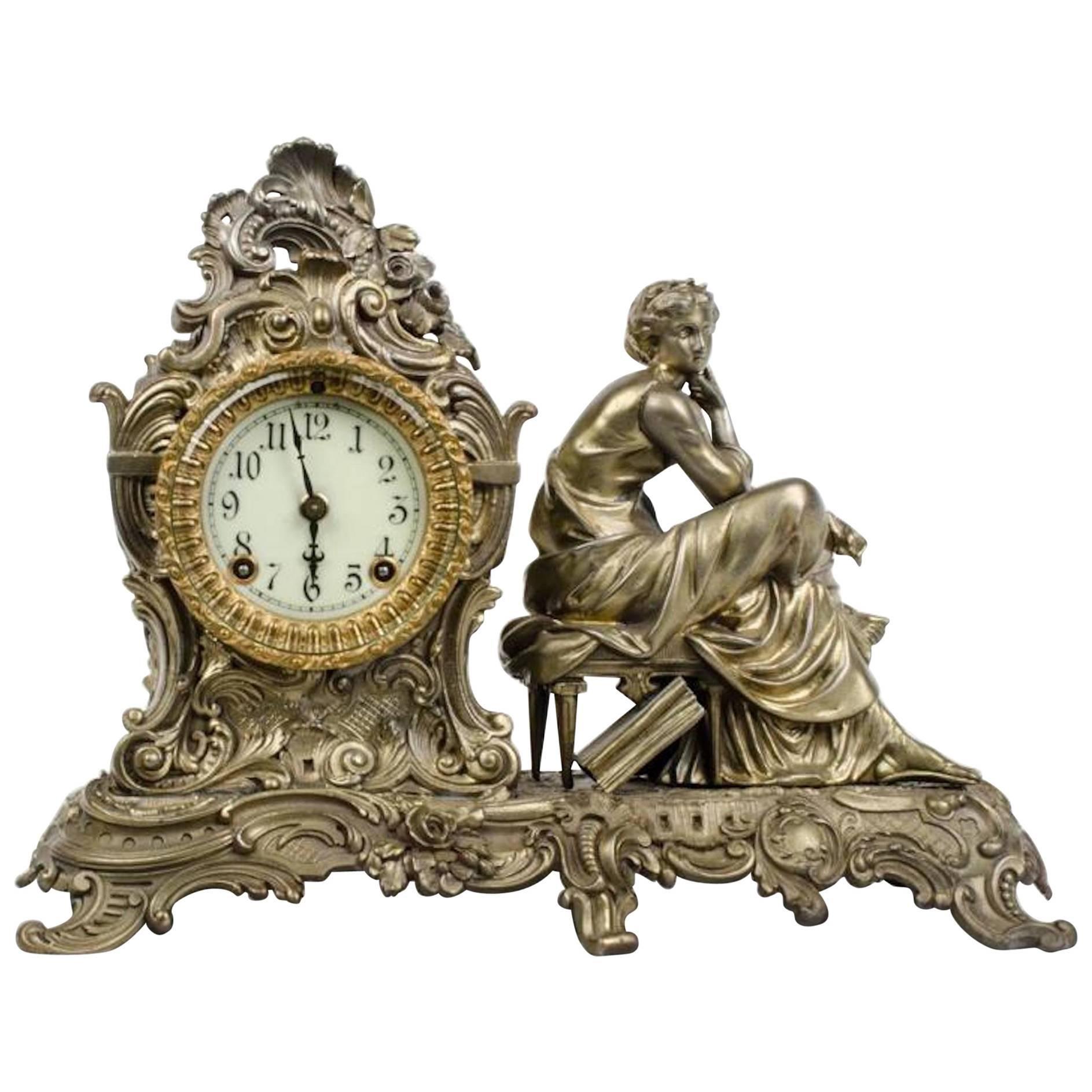 19th Century Mantel Clock Bronze Gilt Statue by Ansonia Clock Company