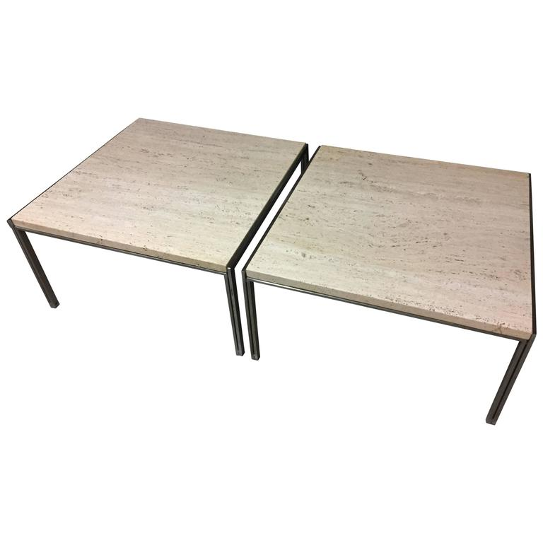Two Luar Coffee Tables Steel and Travertine by Ross Littell