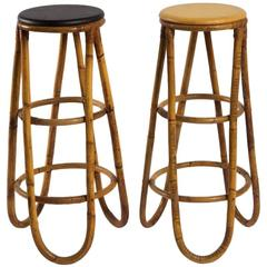 Wonderful Pair of Bamboo Barstools