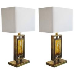 Pair of Gilt Brass and Resin Table Lamps, Italy, 1970s