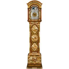George II Period Cream Lacquer Longcase Clock by Isaac Nickals