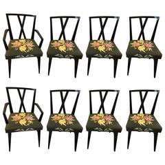 Set of Eight Ebonized Tommi Parzinger Dining Chairs