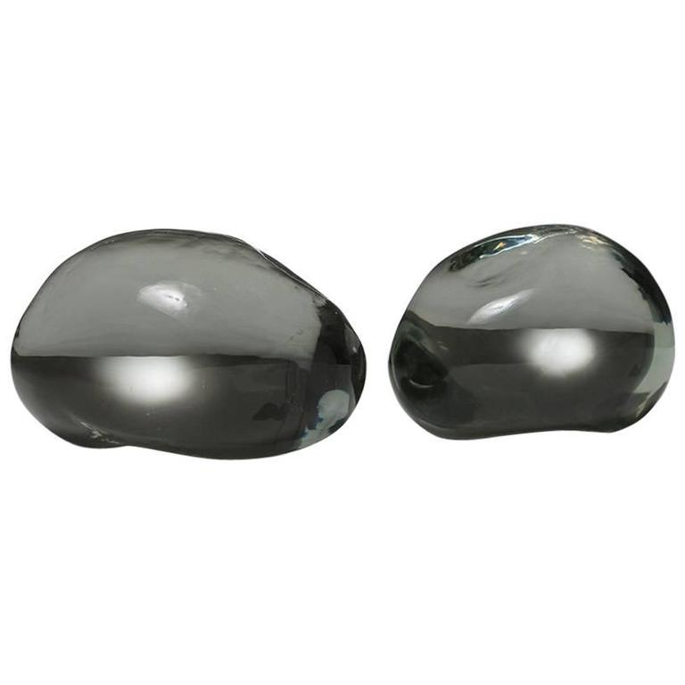 Pair of Solid Glass Stones by Barbini For Sale