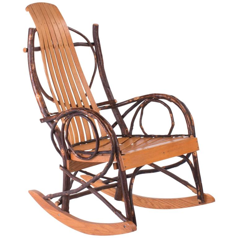 Slated Wood And Tree Branch Artist Studio Rocking Chair For Sale