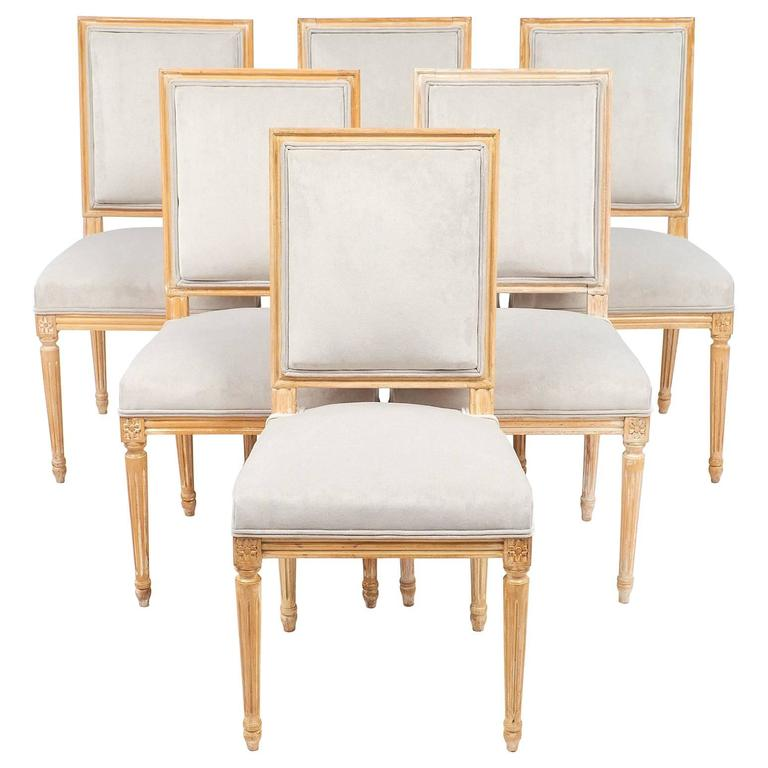 Set Of Louis XVI Style Antique French Dining Chairs For Sale