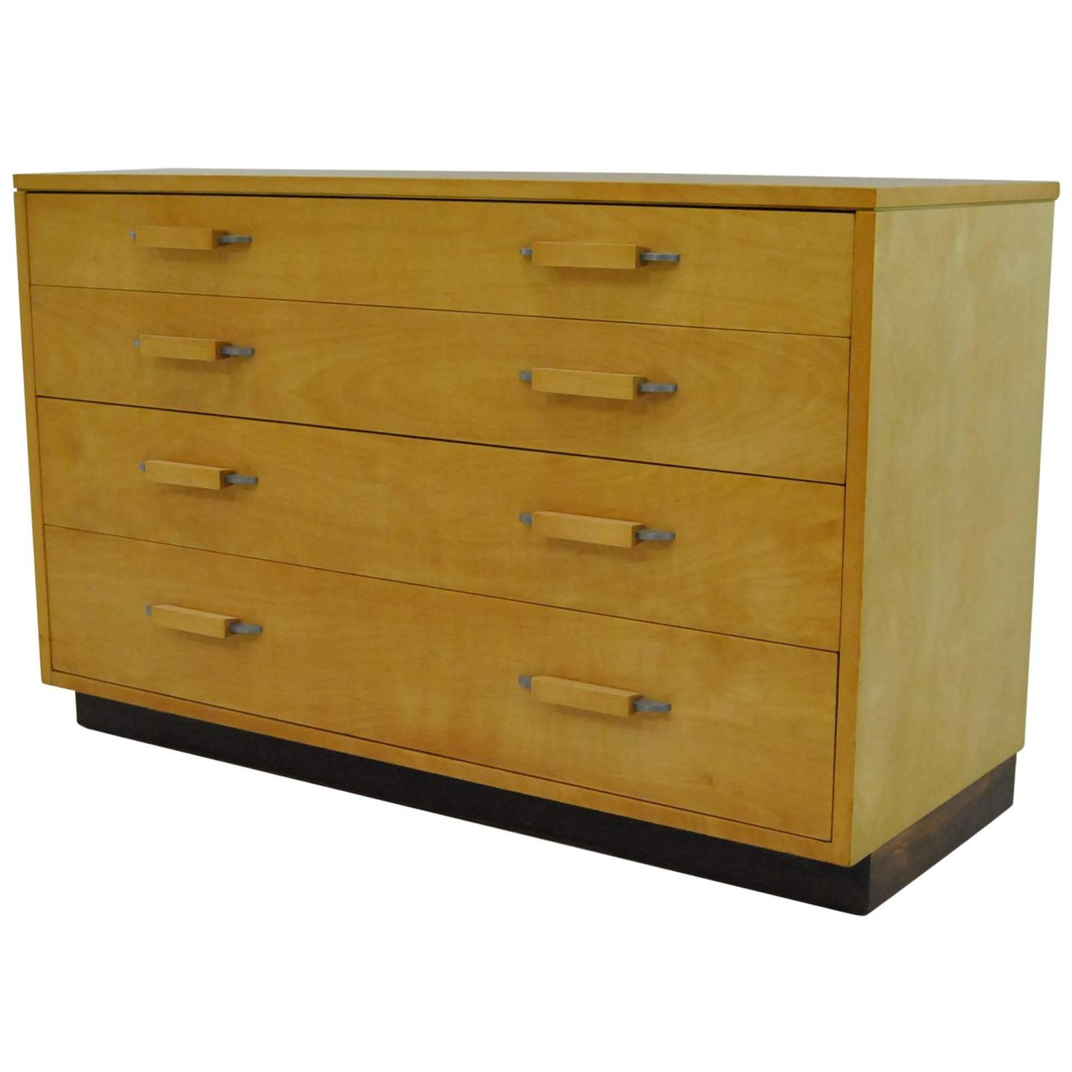 Mid Century Four Drawer Birch Chest By Johnson Furniture Co., Eilel Saarinen