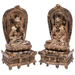Pair of Gilt Sakyamuni Buddhas with Steles