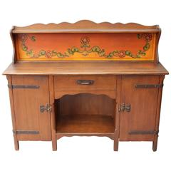 1930s All Original Monterey Sideboard with Pristine Original Painted Back Panel
