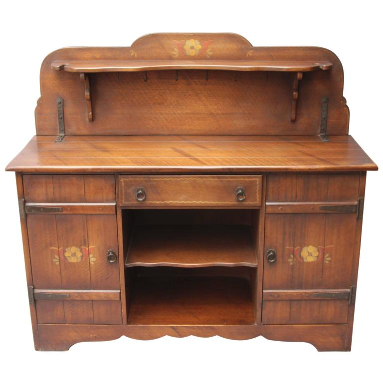 1930s monterey hand painted sideboard cabinet at 1stdibs. Black Bedroom Furniture Sets. Home Design Ideas