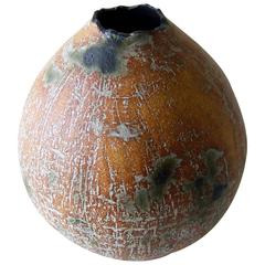 Ruth Bennett Stoneware Incised Smokey Vase