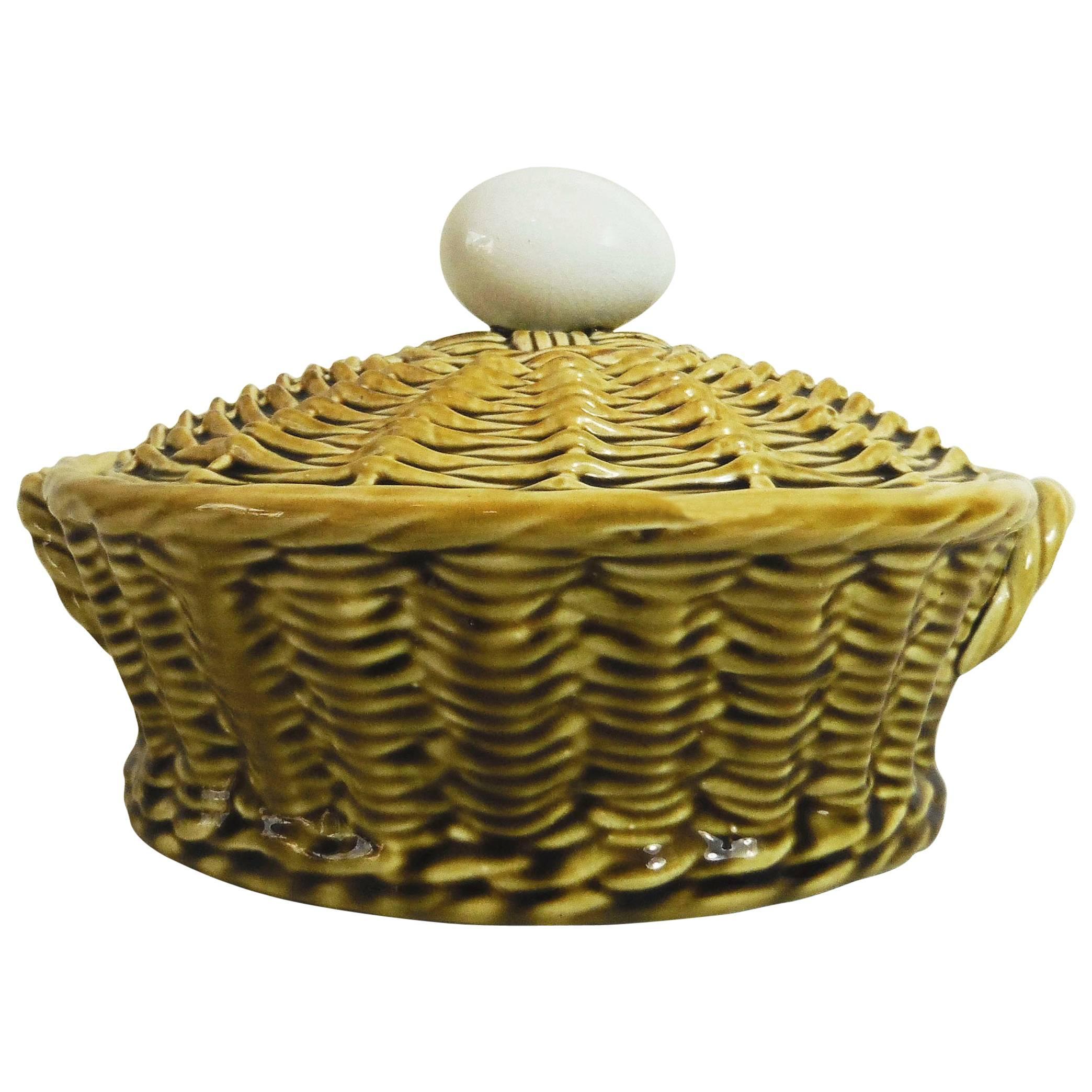 Majolica Egg Basket Sarreguemines, circa 1920 at 1stdibs