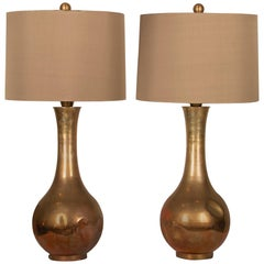 Mid-Century Brutalist Style patinated bronze Lamps