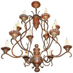 Large Italian Cage Form Giltwood and Iron Painted Chandelier