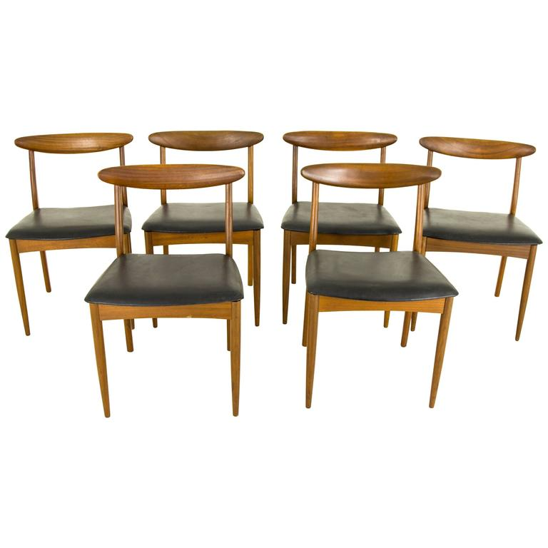 Vintage mid century modern six teak dining side chairs by for G plan teak dining room chairs