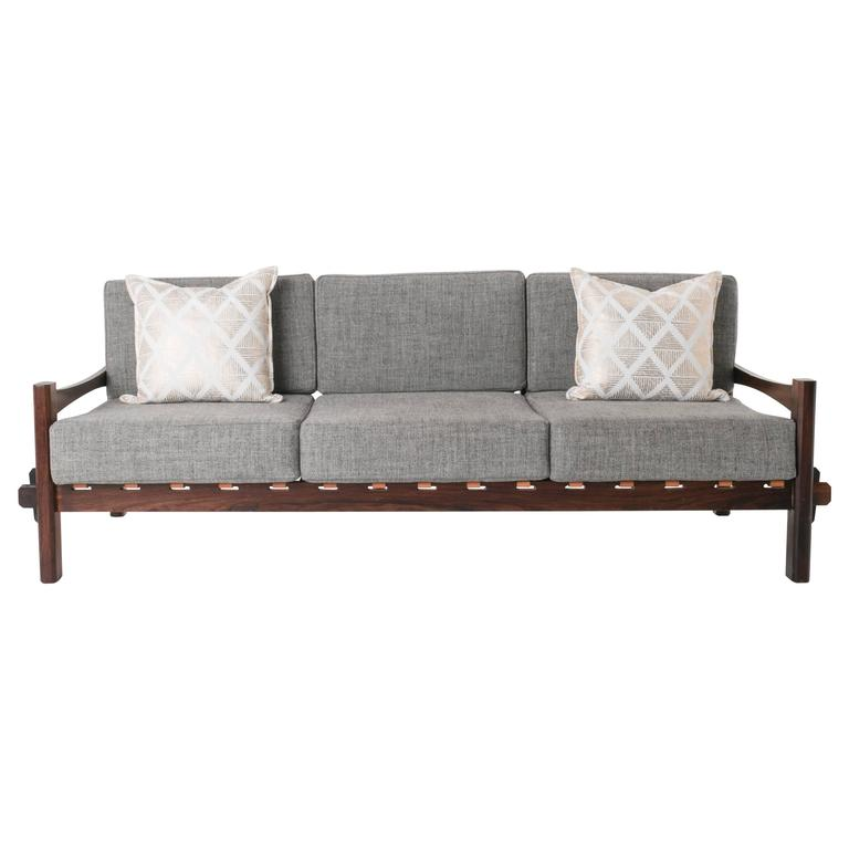 Brazilian Rosewood and Leather Strap Sculptural Sofa in Gray Fabric 1