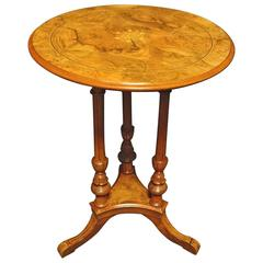 Burr Walnut Inlaid Pedestal Table