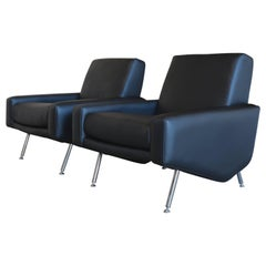 Pair of Leather Lounge Chairs by Airborne France
