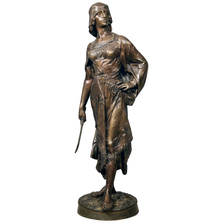 Late 19th Century Bronze Sculpture of a Female Warrior by E. Drouot For Sale