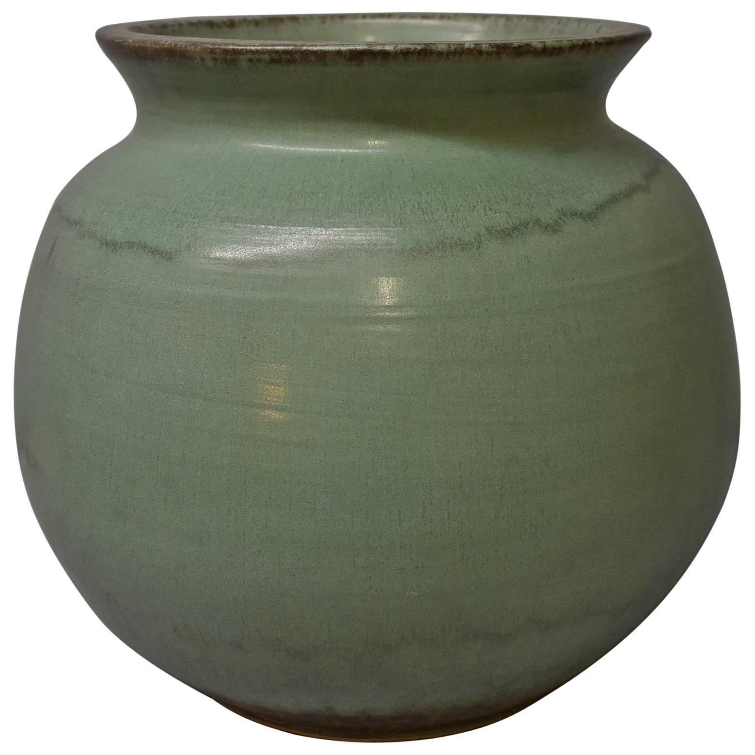 """Tall Light Jade Green Pewabic Pottery Vase, Detroit, MI 15"""" Tall"""