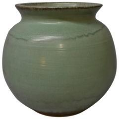 Tall Light Jade Green Pewabic Pottery Vase, Detroit, MI