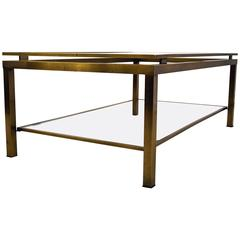Sophisticated Maison Jansen Brass 1970s Two-Tier Coffee Table