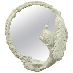 Vintage White Carved Peacock Mirror