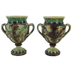 Pair of Majolica Palissy Vases with Mistletoe, circa 1880