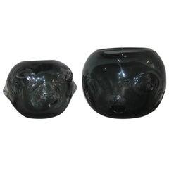 Pair Vases Murano Glass 1960 Ashlar Massive Seguso Attributed