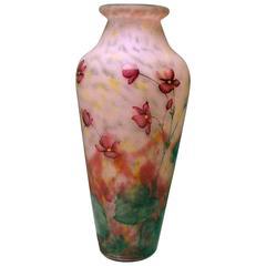 Vase Daum Nancy Art Nouveau Flowers Leaves France Lorraine made circa 1915