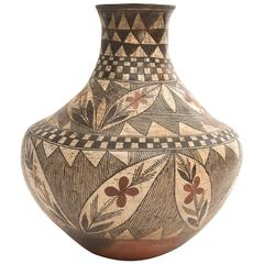 Antique Southwestern Native American Pottery Jar, Isleta Pueblo