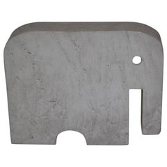 Travertine Marble Elephant Minimal and Rational Sculpture