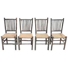 Signed Old Hickory Original Grey Painted Hickory Chairs
