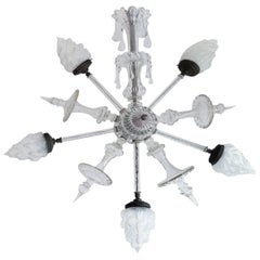 Mid-20th Century Classical Cut-Glass Star Pendant Fixture